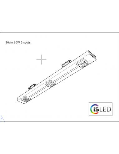 Rail LED V5TT 50cm 60W 3 spots sans...