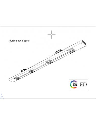 Rail LED V5TT 80cm 80W 4 spots sans...